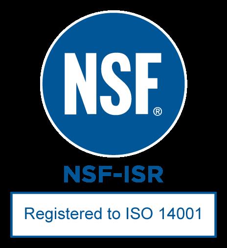 NSF-ISR Registered to ISO-14001